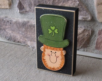 TALL LEPRECHAUN BLOCK for St. Patricks day and home decor