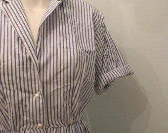 vintage. Cynthia Rowley Cotton Blue Candy Striped Dress // XS S