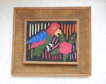 vintage.  60s Mola Art // Textile Embroidery Art