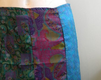 vintage. Indian Silk Hip or Waist A Line Maxi Skirt   // S to M