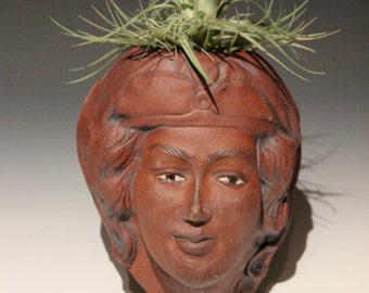 Head Planter Wall Art After Michelangelo's Madonna, Stoneware Face Sculpture Garden Art Flower Pot