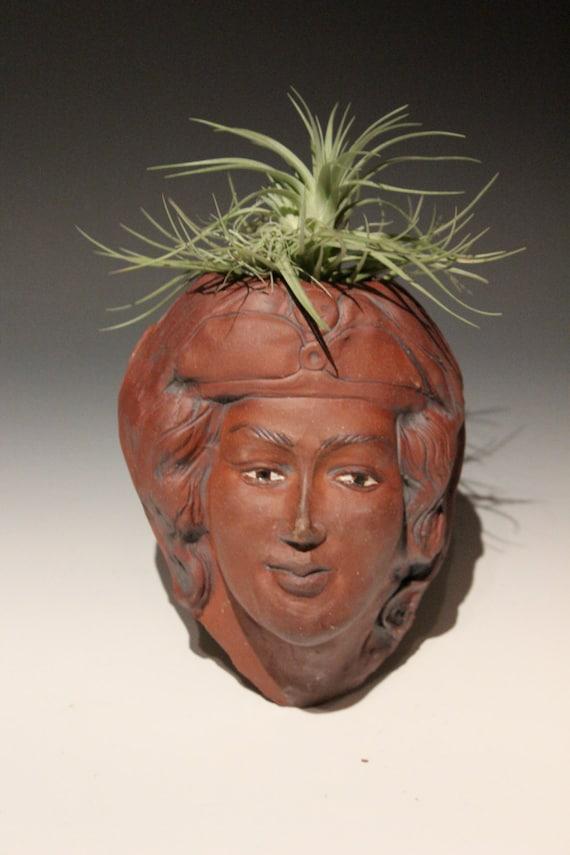 Head Planter Wall Art After Michelangelo's Madonna, Stoneware Face Sculpture Garden Art Flower Pot