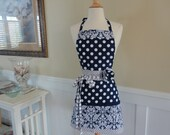 "Navy Damask and Blue Dot -  ""Barbie Style Pockets & More""  Women's Apron - 4RetroSisters"