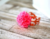 Magenta Pink Flower and Tangerine Filigree Adjustable Flower Ring, Filigree Ring, Holiday Accessory, Holiday Gift