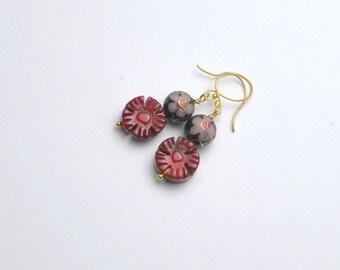 Vintage Cloisonne Bead Earrings Coral Flower Dangles