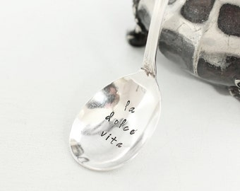 La Dolce Vita Hand Stamped Sugar Spoon For Jam,  Sweet Life Jelly Spoon, Afternoon Tea Party Decor, Hostess - grand elegance
