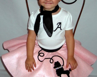 Adorable Toddler 3pc Lulu poodle skirt outfit Your choice of Size and Color 0-12mos,1t-2t,3t-4t Prices from 52.00 and up!