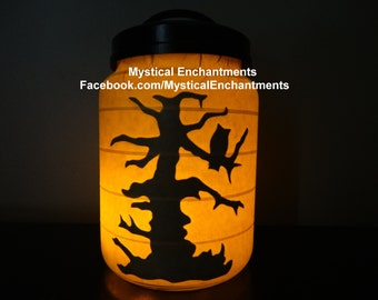 Halloween Luminary Lantern Owl in Tree