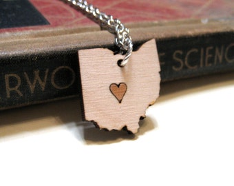 Ohio Love Necklace - Birch and Alder Wood