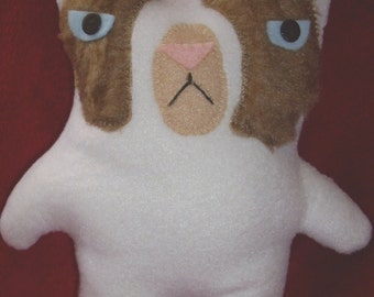grumpy cat plush stuffed animal  fake fur face