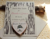 Rustic Wedding Favor Wood Magnets basic-65 Custom Save the date Tree heart shape with card and envelopes