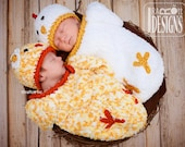 CROCHET PATTERN Bok Bok Easter Chicken Baby Hat and Cocoon Set PDF Pattern Instant Download