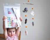 Felt Craft Kit, Elephant mobile in girl chevron