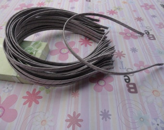 18pc gray color satin covered metal headband with bent end thin 5mm