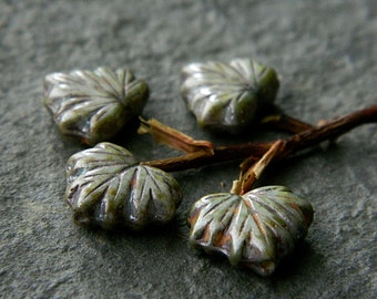 Maple Leaf Czech Beads Opaque with Grey & Olive Picasso and Metallic Silverish Luster (10pcs) NEW