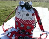 Black Red White Sheep Yarn Drawstring Tote Bag Round Bottom Working Basket & Large Spill Proof Interchangeable Knitting Needle Case