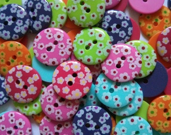 26 pcs Cute Retro flower printed Buttons size 18 mm Mix color