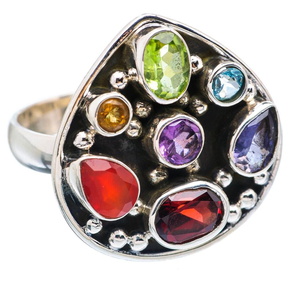 rainbow gemstone ring chakra energy ring rainbow gemstone