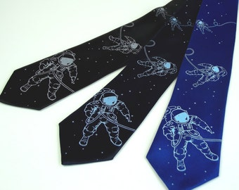 Men's Science Tie - Astronaut Necktie - Premium Quality Microfiber Tie - Gift wrapped - Choose color and quantity