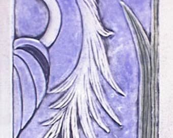 Handmade, relief carved, handpainted ceramic heron tile