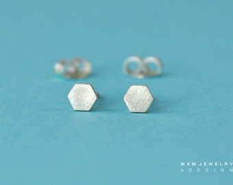 Tiny Sterling Silver Hexagon Stud Earrings