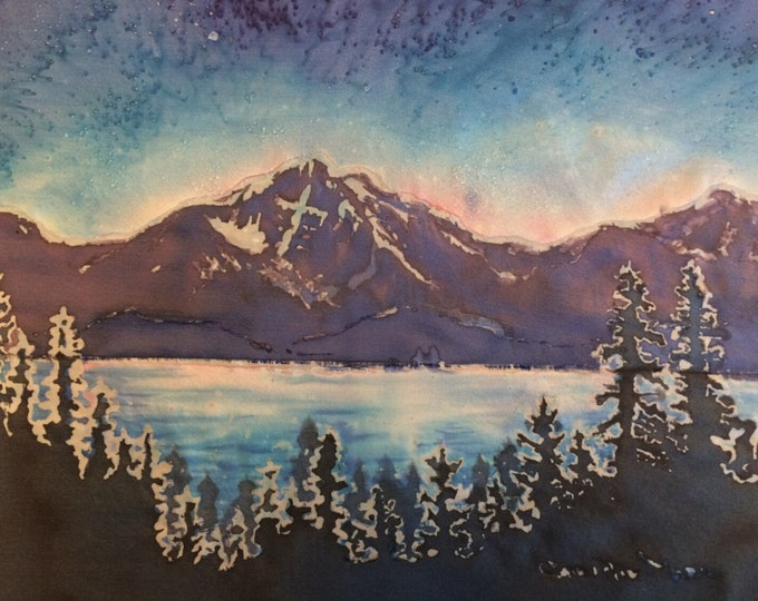 "Original Fine Art Silk Painting, Framed ""Tallac"", Blue Sky Mt. Tallac Lake Tahoe art by Artist Christie Marie"