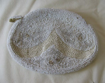 Vintage 1920's Beaded French Belt Purse Hand Bag Clutch White and Ivory Made in France