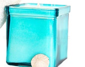 Blue Soy Candle - Limited Edition - Recycled Glass Candle Holder - Spa Blue