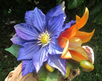 Hawaiian - Tropical  Orange Orchid and Purple Clematis flowers  hair clip - Wedding-
