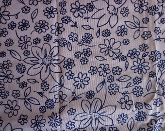 Blue and White Floral Fabric with Simple Design, Little over One Yard