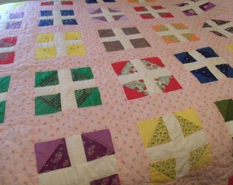 Vintage Hand Made Quilt, Hand quilting,Patchwork, Block Quilt, Double / Full / Queen Size