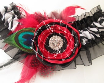 Black & Red WEDDING or Homecoming Garter, Peacock Garter, Zebra Garter w/ Red Rose, Bettie Page, Pinup Girl, Dance, Circus, Carnival Wedding