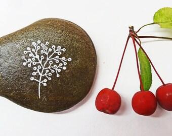 twig of berries painted rock paperweight