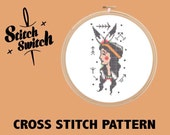 DIY Tattoo Themed Native American Indian Girl with Arrows Cross Stitch Pattern