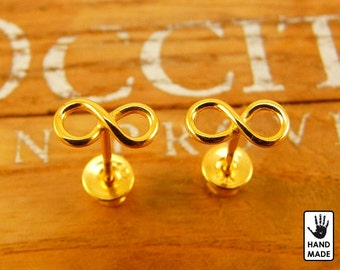 Goldplated Sterling silver INFINITY earrings  :  studs, handmade, cute, small