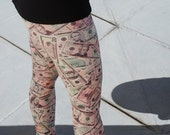 Money Print  leggings with WIDE waistband size small