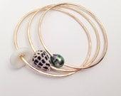 3 Bangles Set in Gold: Tahitian Pearl, Cone, Puka Shell Hawaii 14 gauge or 12
