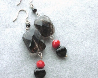Rutilated Quartz with Black Onxy Hearts Earrings-Blood Drop-Red, Black, Faceted, Silver