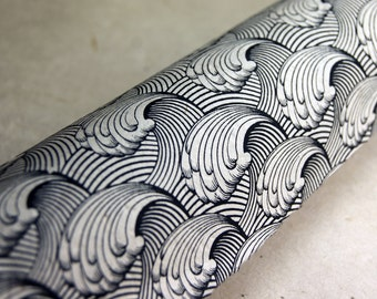 Crashing Wave Pattern Lotka Wrapping Paper Holiday Gift Wrap 3 sheets Black Print paper