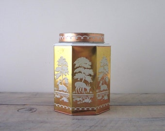 Vintage Gold Tin Metal Canister Woodland Deer