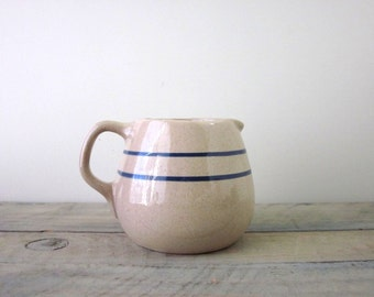 Farmhouse Pitcher Tan Brown with Blue Stripes
