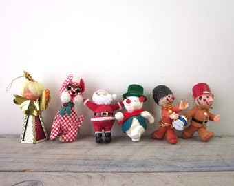 Vintage Christmas Ornaments Set of Six