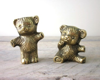 Pair of Vintage Brass Teddy Bears Set of Two