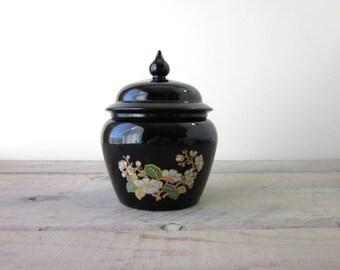 Avon Black Glass Lidded Jar Lotus Blossom Floral Pattern Ginger Jar