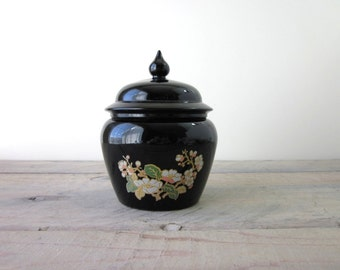 Avon Black Glass Lidded Jar Lotus Blossom Floral Pattern Ginger Jar