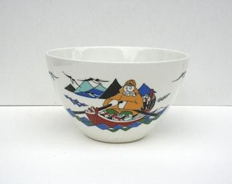 Mid century bowl by Figgjo. Torskefiske, Norway, Scandinavian, mid century, fishermen, village scene, blue, aqua, yellow, red.