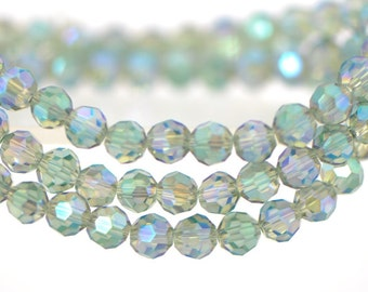Round Crystal Glass Faceted beads 6mm Sparkle Green -(32QZ06-39)/ 95pcs