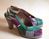 On hold for Marie --- RARE 1940s multicolor slingback shoes from Italy size 7M