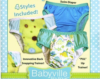 TOTALLY TRAINERS BOOKLET ~ Pattern and Instruction Booklet ~ 4 Styles Included ~ Trainers, Underwear & Swim Diapers ~ by Babyville Boutique