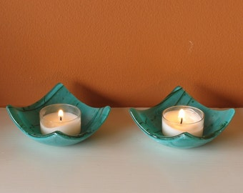 Candle Holder Pair - Fused Glass - Tea or Votive Candle Holder - Teal Green